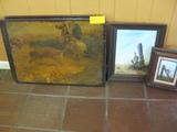 5 Total Framed Prints Westerns Oil Painting
