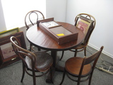 Table with 3 Bendwood Chairs Wall Clock and Framed Prints