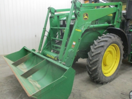 JD H480 Q.T. front loader, self leveling, 9' bucket (off 7230)