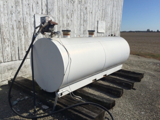Steel 1000 gal. dbl. wall horizontal fuel tank w/Gas Boy  elect. meter pump