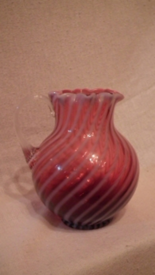 Cranberry opalescent pitcher