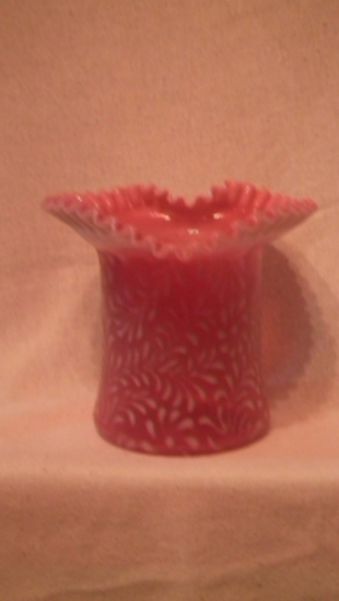 Cranberry opalescent vase