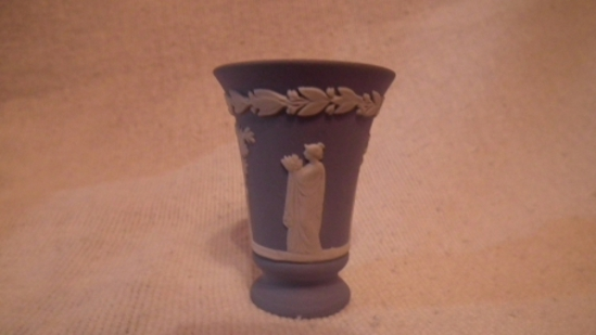 "Blue & white toothpick holder, unreadable maker mark (may be Wedgewood), 2 1/8""H x 1.75""W"