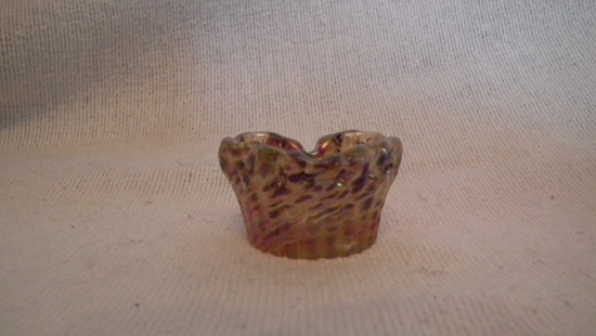 """Salt dip, heart shaped, amber mottled, signed Crider 2009, 1""""H x 1 7/8"""" W"""