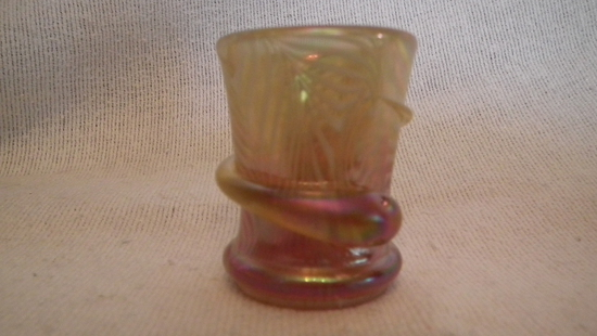 """Snake toothpick holder, gold to mauve with white swirl design, signed Crider 2009, 1""""H x 1 7/8""""W"""