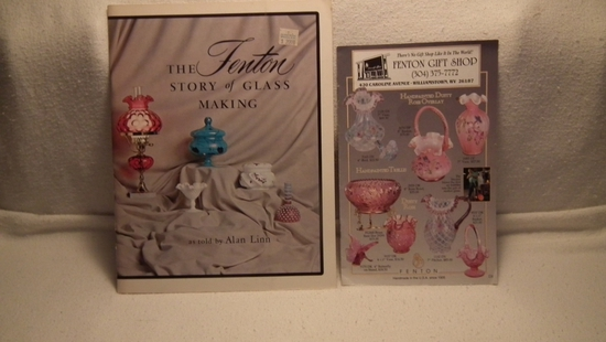 Fenton Gift Shop 1997 Mailer and The Fenton Story of Glassmaking by Alan Linn PB 1969 color pix.