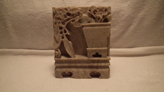 Soapstone bookend (1), flowers & vine coming out of big vase
