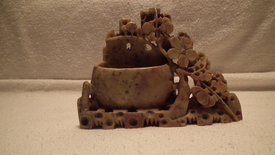 "Soapstone vase, carved leaves & fruits, 4""x3.75"""