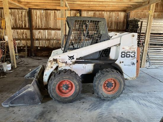 "'99 Bobcat 863 skid loader, w/ 68"" bucket, 5041 hrs."