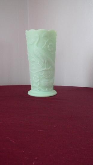 "Fenton, lime, peacock & dogwood vase, marked Fenton, 7 3/4"" x 3 5/8"""