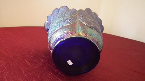 "Gibson, blue carnival vase, 7 1/4"" x 6"""
