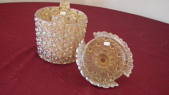 "Fenton, gold daisy & button covered dish, marked Fenton, 4 3/4"""