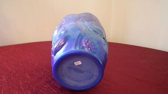 "Fenton, blue fish vase, marked Fenton, 6 1/2"" x 5 3/4"""
