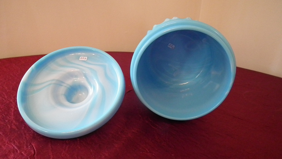 """Fenton, blue marbled apothecary jar/humidor, unmarked, 7 1/2"""" x 6"""""""