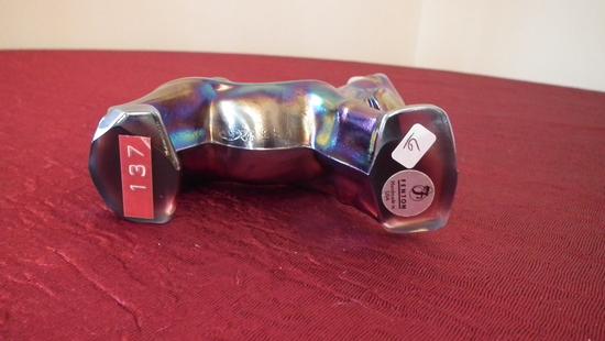 "Fenton, purple/blue carnival donkey, silver Fenton sticker, marked FGS 92 Fenton, 4 3/4"" x 1 1/2"""