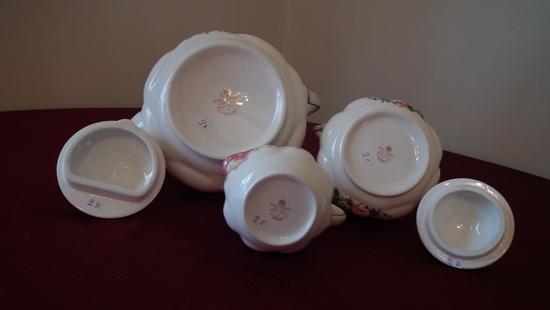 Royal Albert Bone China, Lady Carlyle, tea set with creamer, sugar, & teapot, 1944 Royal Albert Ltd.
