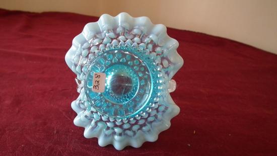 Fenton, blue & white opalescent hobnail basket, clear handle, crimped edge,