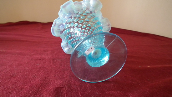 Fenton, blue & white opalescent hobnail vase, ruffled crimped top, unmarked