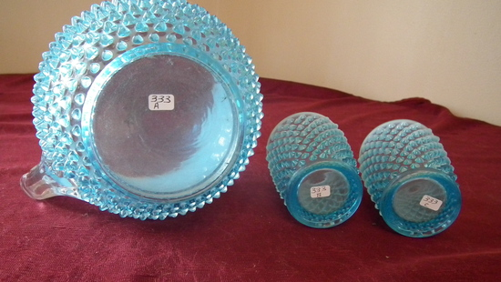 Fenton, blue & white opalescent hobnail pitcher & 2 water glasses, unmarked