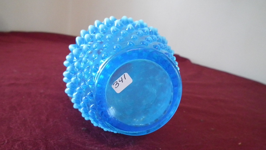 Fenton, blue & white opalescent hobnail pitcher/syrup, white top & tips of