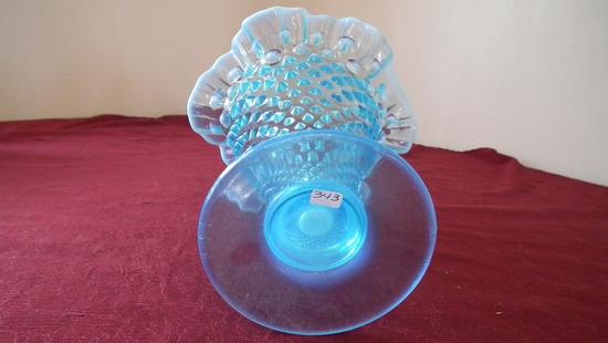 Fenton, blue & white opalescent hobnail vase, white top edge, crimped top,