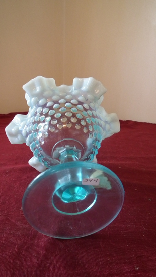 Fenton, blue & white opalescent stemmed candy dish, crimped ruffled top, go