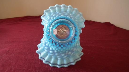 Fenton, blue & white opalescent hobnail basket, clear handle, marble edges,