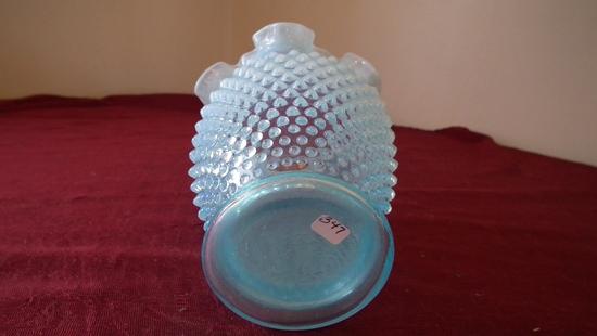 Fenton, blue & white opalescent hobnail vase, wavy crimped top, unmarked, 5