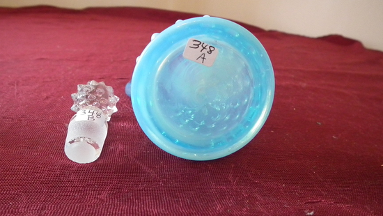 Fenton, blue & white opalescent hobnail creamer with stopper; stopper = cle