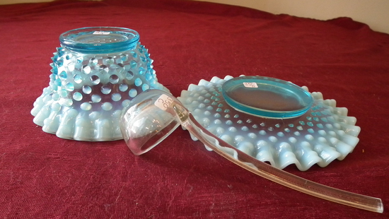 Fenton,blue & white opalescent mini-punch bowl set (3 pieces), clear dipper