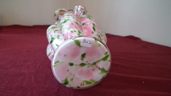 "Fenton, green & pink splatter vase, ruffled crimped top, unmarked, 7 1/2"" x"