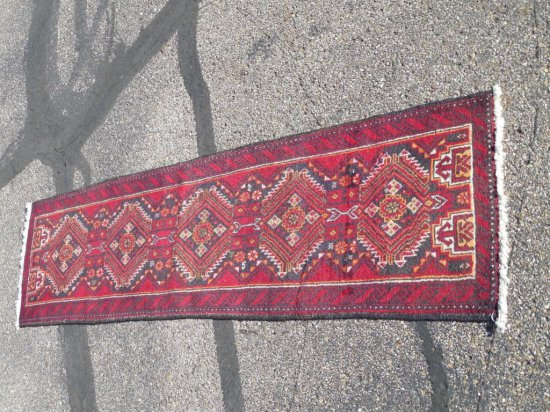 Vintage Hand Knotted Persian Carpet Runner Red Rug