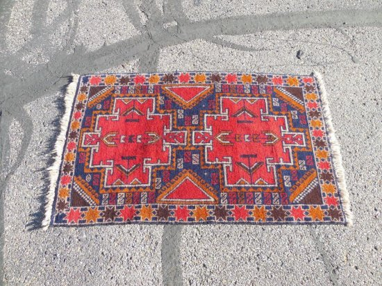 Vintage Hand Knotted Persian Carpet Red Wool Rug