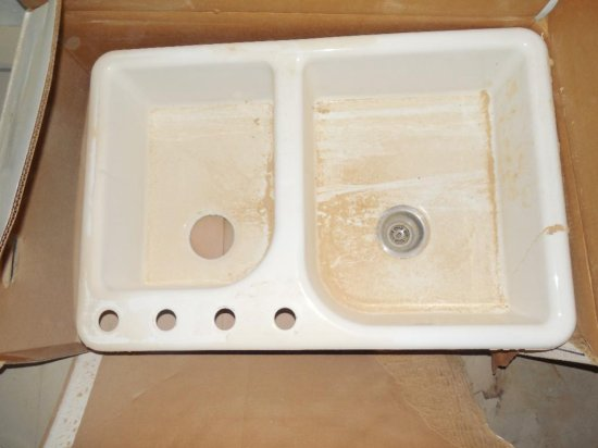 Kohler White Enamel Double Basin Sink in Box