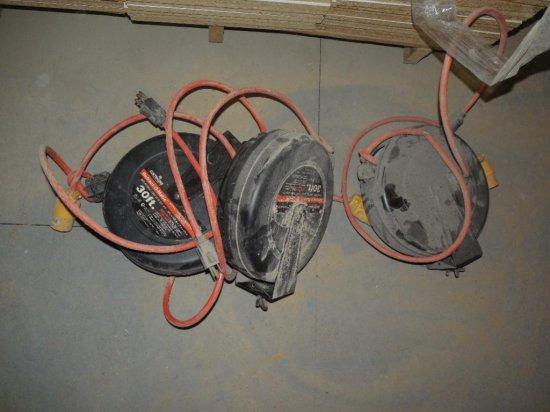 Three Retractable Reel Extension Cords