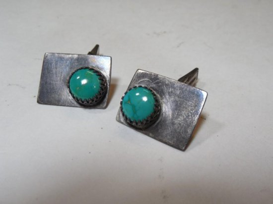 Pair of Sterling Silver, Turquoise Cufflinks