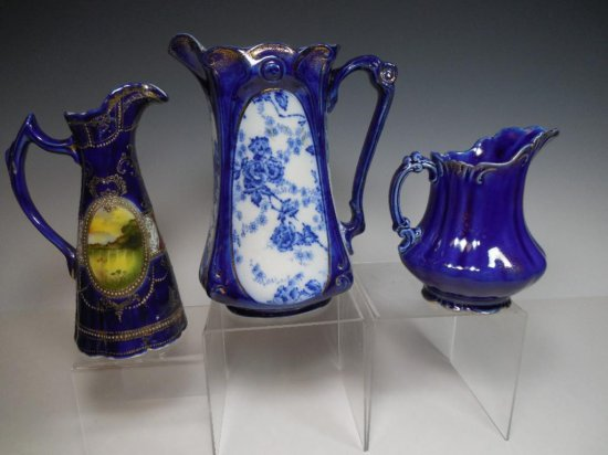Group Lot 3 Pieces Cobalt Blue China/Porcelain