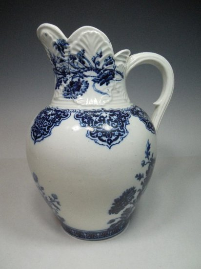 Antique Flow Blue Pitcher Emery Richmond Burslem