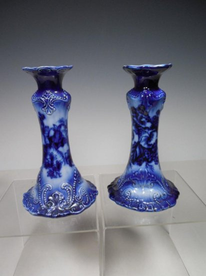 Antique Flow Blue Candlesticks w/Beaded Accent