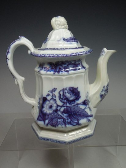 Early Flow Blue Flora c. 1840 Tea Pot Porcelain China