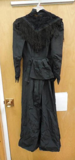 Antique Victorian Dress w/Fringe and Lace