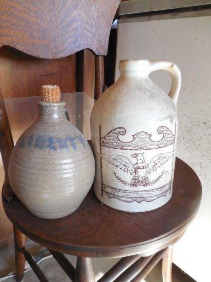2 Vintage Patriotic Stoneware Crocks Jugs