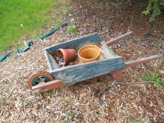 Wooden Garden Decor Wheelbarrow