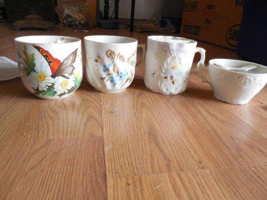 Four Antique Mustache Mugs