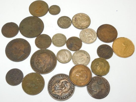 Large Lot Early Foreign Coins Inc. Silver
