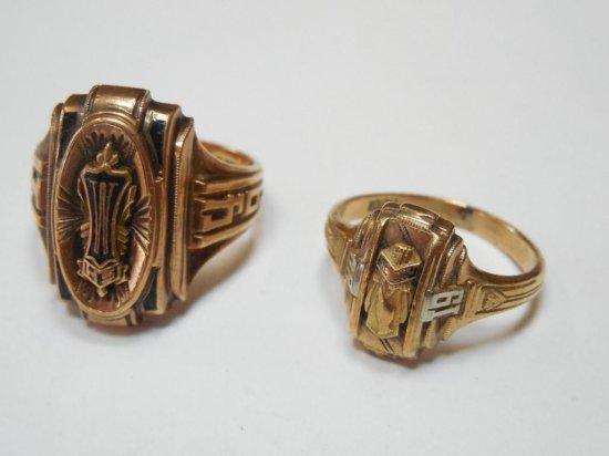 2 Mens 10k Gold Class Rings - 12 grams