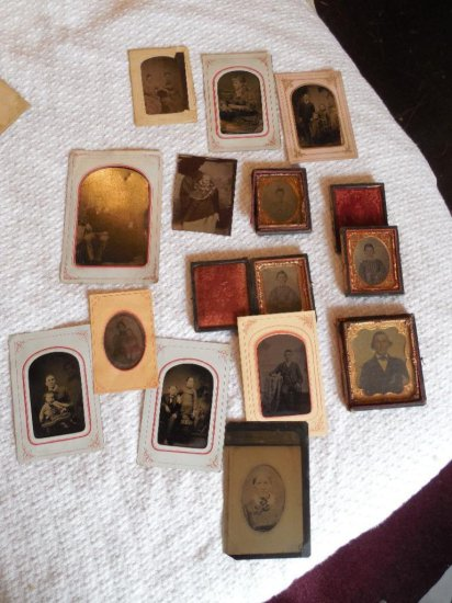 Group Lot Tintypes, Cased Images Etc