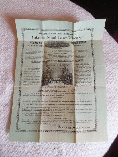Early Cincinnati Ohio Law Office Broadside Ad w/Map