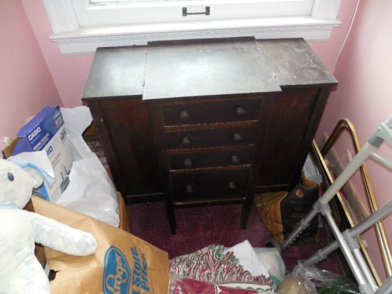 Antique Unusual Wooden Sewing Cabinet