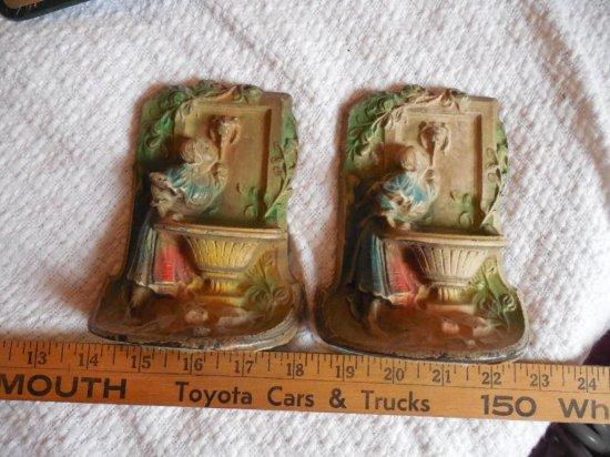 2 Antique Cast Iron Bookends